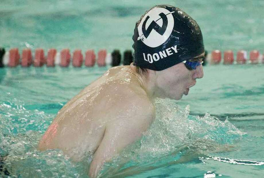 Ryan Looney swam on two relays that scored points for Wilton at the FCIAC championship meet. Photo: Scott Mullin / Hearst Connecticut Media / Scott Mullin ownership
