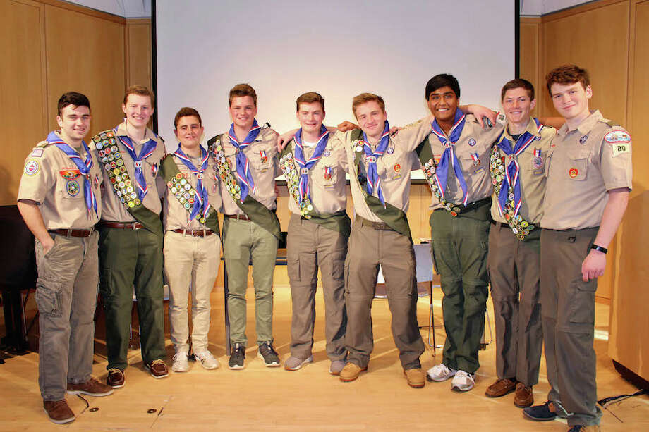 From left: Tyler Daher (Troop 125), Sean Carlson, Matthew Johnson, Adam Harley, Evan Harley, Cole Avallone, Purab Angreji, Kace Stewart, and Thomas Mazzarulli. (Scouts belong to Troop 20 unless noted).