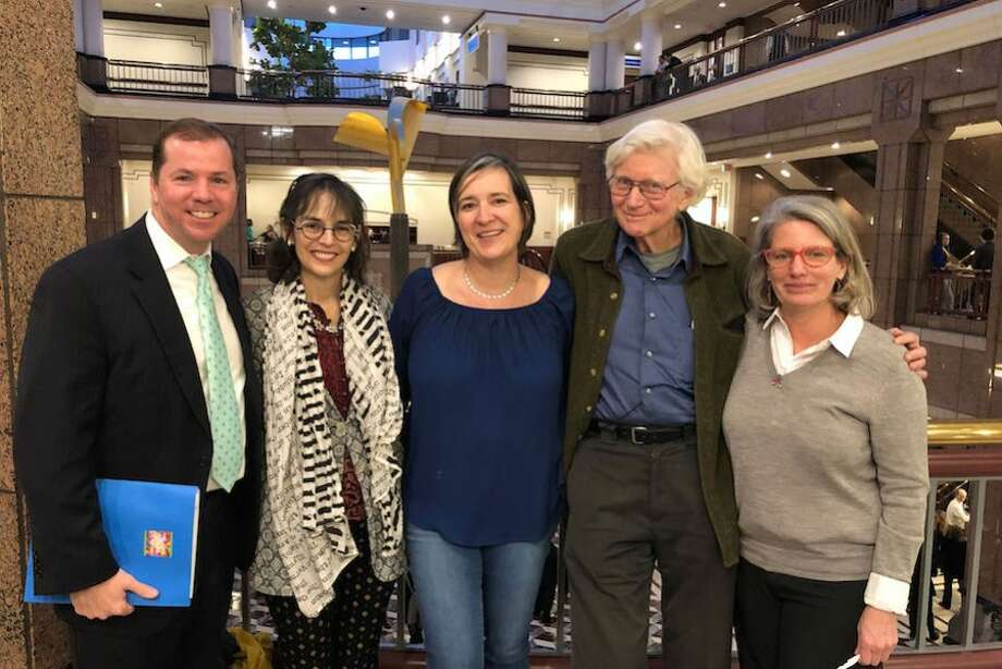 From left, Dr. Kevin Smith, Lenore Skenazy, Vanessa Elias, Dr. Peter Gray, and Colleen Fawcett testified in Hartford in support of Senate Bill 806.