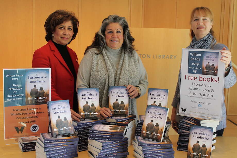 From left, Elaine Tai-Lauria, executive director of Wilton Library, Carol Johnson, vice president at Fairfield County Bank and a trustee of the library, and Lauren McLaughlin, assistant director and coordinator of the Wilton Reads event.