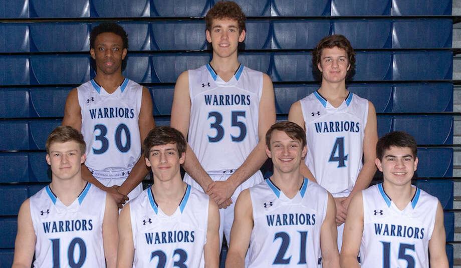 The Wilton basketball team's seven seniors will be honored at tonight's game against Fairfield Ludlowe. Top row (left to right): Zayvion Eusebe, Ryan Biberon, Zach Pozzi; bottom row: Kyle Phillips, Reilly Bingaman, Ryan Schriber, Nick Kronenberg.