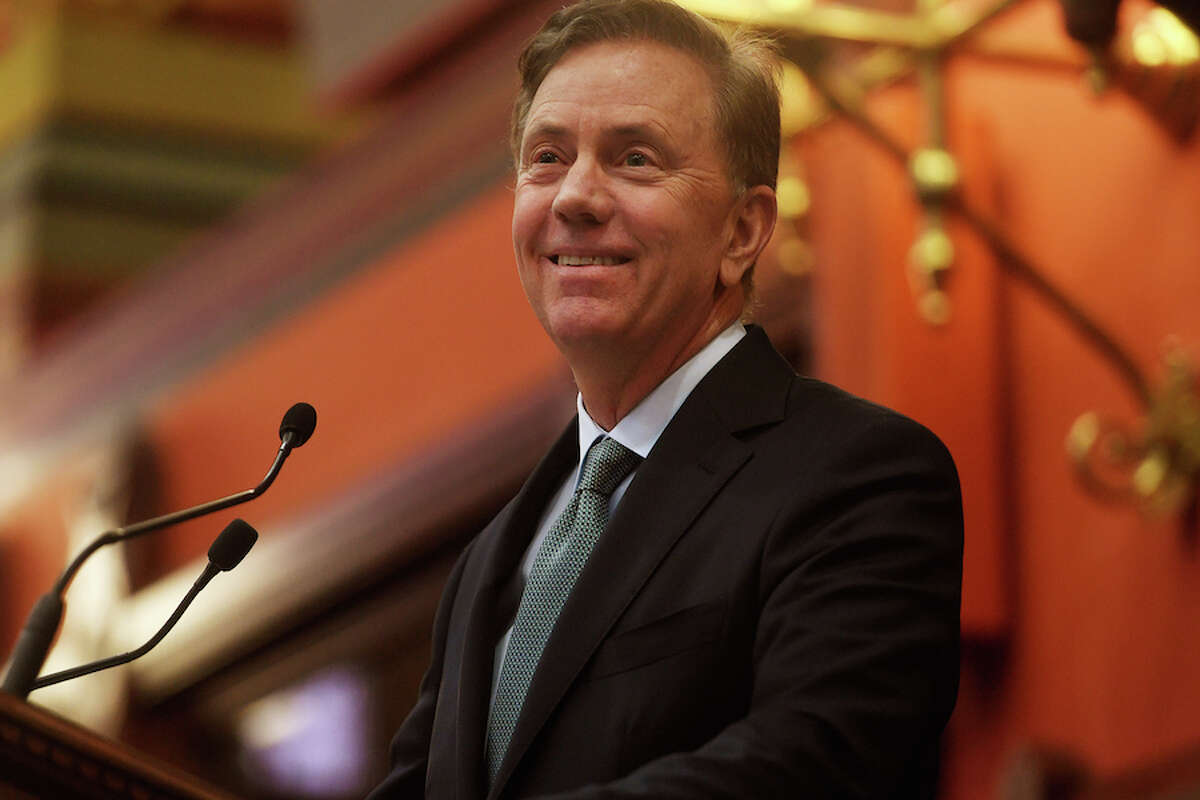 Governor Ned Lamont delivers his budget address to the general assembly at the Capitol in Hartford on Wednesday, Feb. 20, 2019.