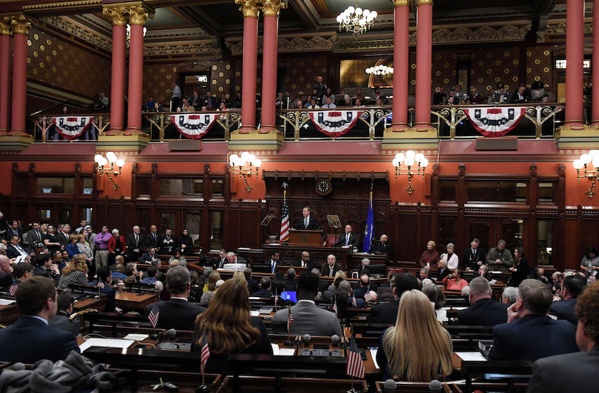 The Hall of Representatives is filled as Gov. Ned Lamont delivers his budget address. - AP Photo/Jessica Hill