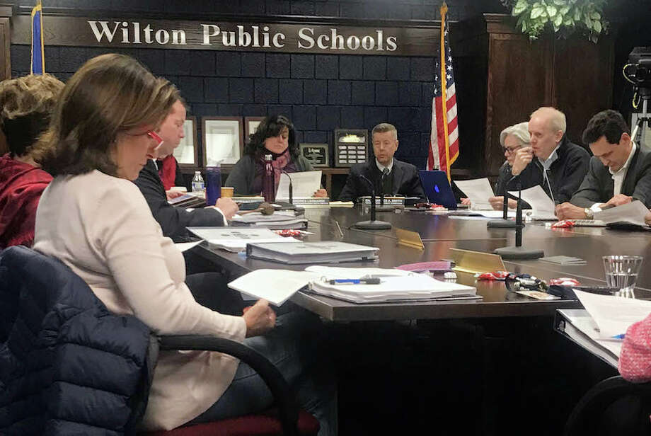 The Board of Finance and the Board of Education had a joint meeting at Wilton High School on Feb. 14. — Lynandro Simmons photo