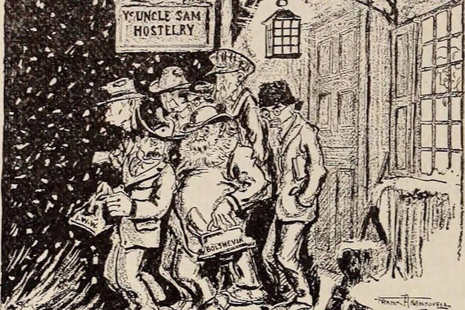 This 1919 New York Tribune cartoon illustrates the anti-Bolshevik sentiments that fueled social unrest that year.