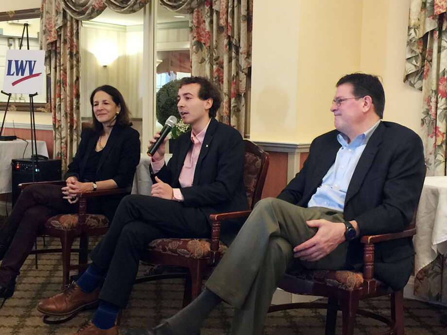 From left, state legislators Gail Lavielle, Will Haskell and Tom O'Dea discussed school regionalization and other issues at the Wilton League of Voters legislative breakfast. — Patricia Gay/Hearst Connecticut Media