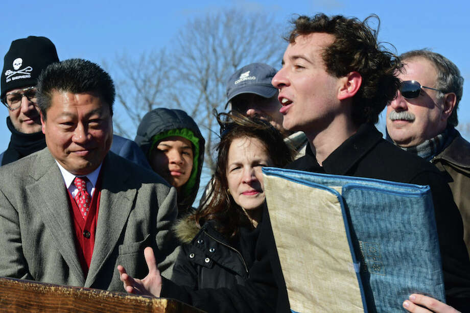 State Rep. Tony Hwang, left, and state Rep. Gail Lavielle joint state Sen. Will Haskel in endorsing a bill that would ban single-use plastic bans in Conn. The announcement was made Saturday, Feb. 9, at Compo Beach in Westport. At right is state Rep. Jonathan Steinberg. — Erik Trautmann/Hearst Connecticut Media / Norwalk Hour