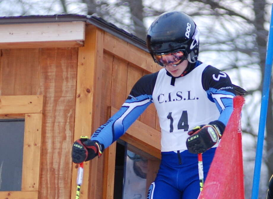 Ryan van Heyst prepares for the start of a slalom run at last week's season-opening ski race. Van Heyst was the first finisher for the Wilton boys team and placed seventh overall.