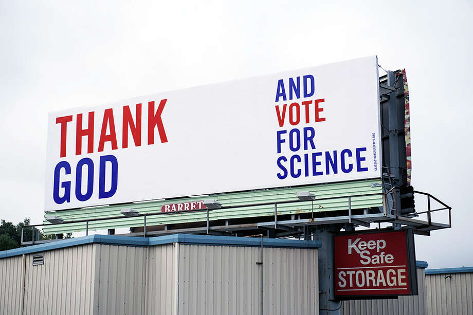 One of Class Action's billboard along I-95 in West Haven reading 'Thank god and vote for science.' — Kathryn Harrison photo / Monica Jorge