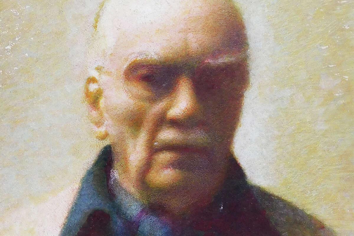 An oil on hardboard self-portrait painted by Carl Schmitt circa 1965.