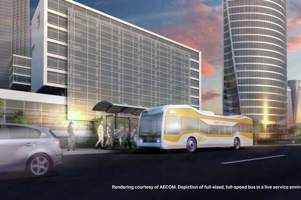 This rendering, courtesy of AECOM, depicts a fill-sized, full-speed bus in a live service environment. Officials from the Michigan Department of Transportation recently contacted Huron Transit Corp, also known as Thumb Area Transit, and inquired about potentially bringing automated buses to the Thumb.
