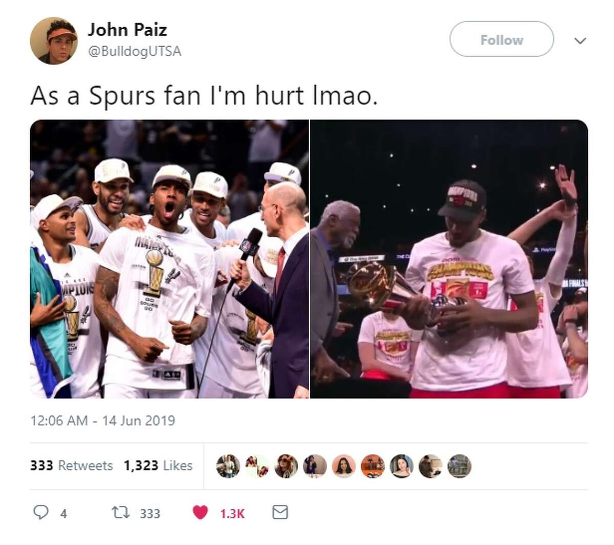 @BulldogUTSA tweeted how hurt he felt about Kawhi winning a championship.