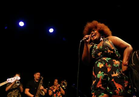 Kam Franklin leads The Suffers during their hometown album release show at The Heights Theater, Thursday, July 12, 2018.( Mark Mulligan / Houston Chronicle )