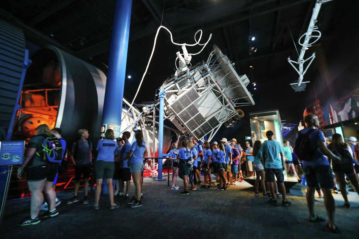 Visitors wait to enter the Skylab 1-G Trainer in Space Center Houston Wednesday, June 27, 2018, in Houston. ( Steve Gonzales / Houston Chronicle )