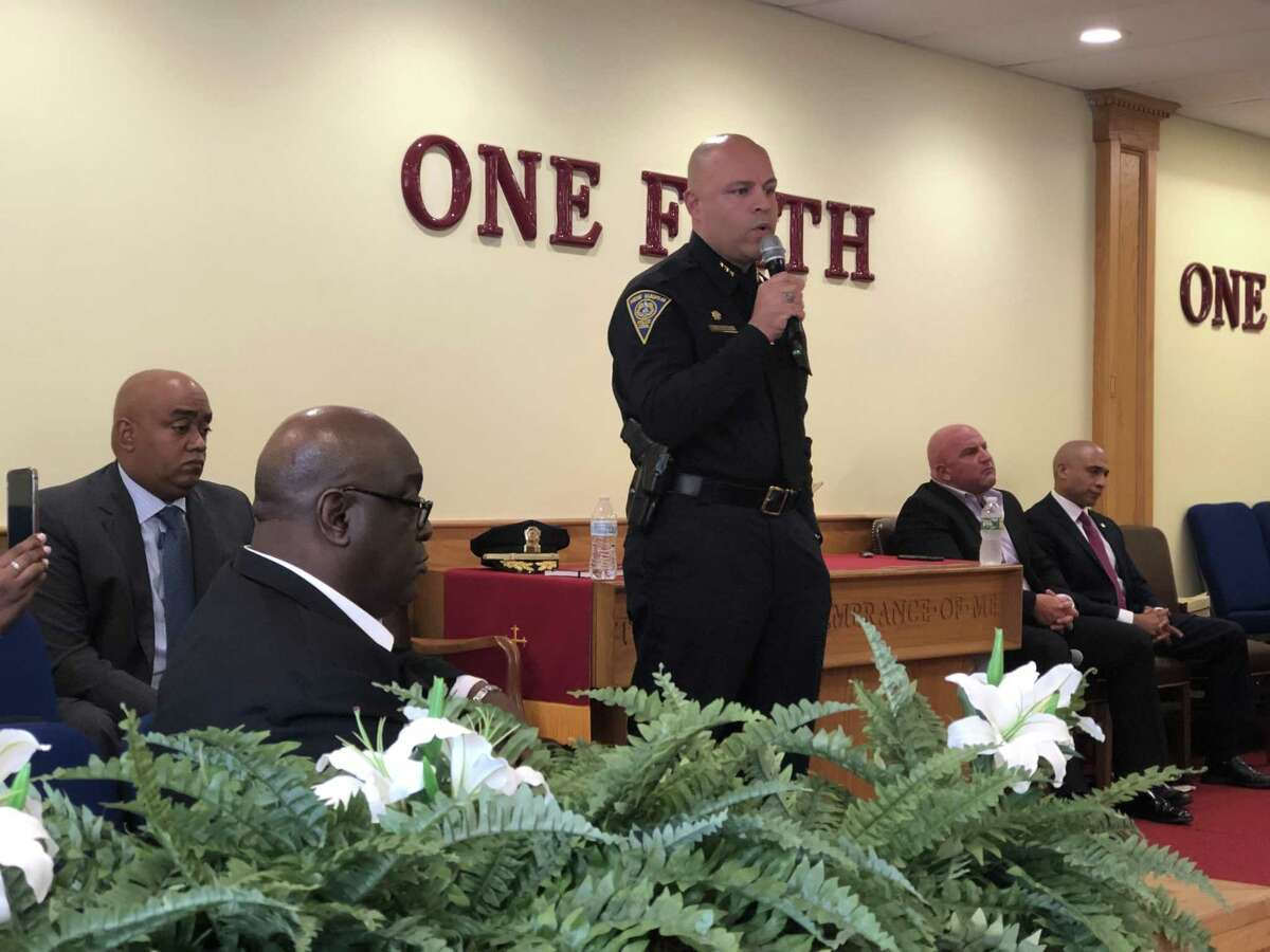 Candidates seeking to become police chief in New Haven shared their visions for policing Thursday at a community forum. Here, Interim Chief Otoniel Reyes speaks.