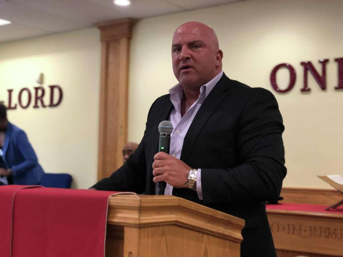 John Velleca was among candidates seeking to become police chief in New Haven shared their visions for policing at a community forum on June 13, 2019.