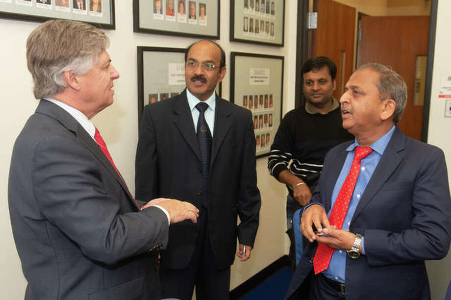 Visiting University of India meeting Chancellor Pembrook. Photo (L-R): SIUE Chancellor Randy Pembrook, JSS Engineering and Technology Dean T.N. Nagabhushan, JSS Associate Professor B.S. Harish and JSS Vice Chancellor B.G. Sangameshwara Photo: Courtesy Of SIUE