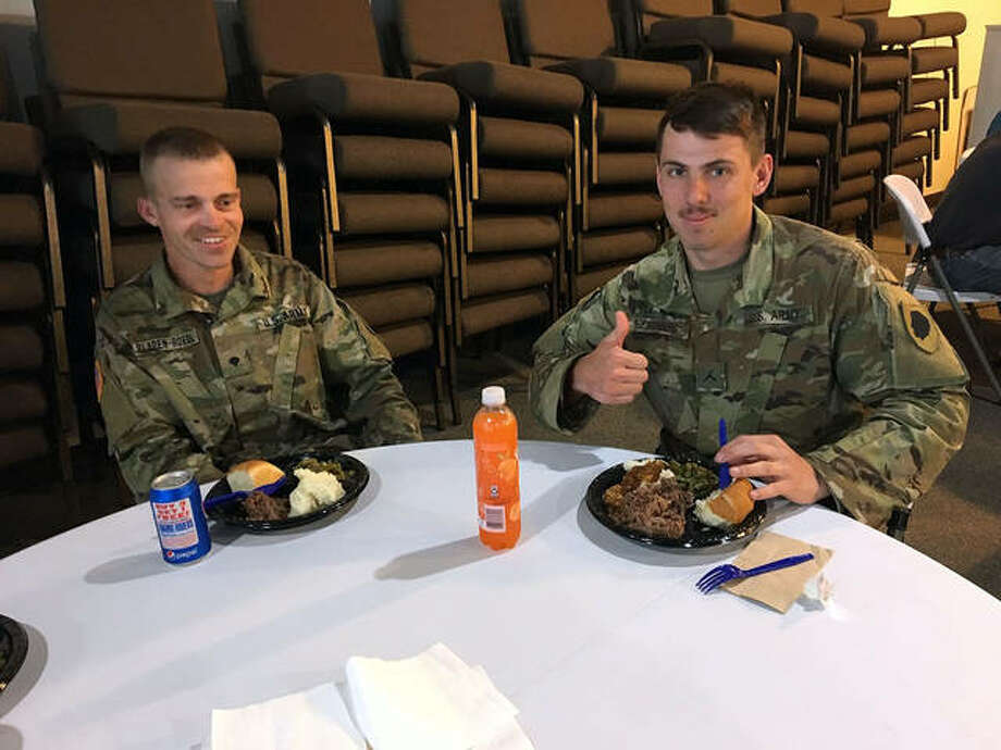 The troops welcomed the food after a day of work. Photo: Courtesy Of Ben Tolly | For The Intelligencer