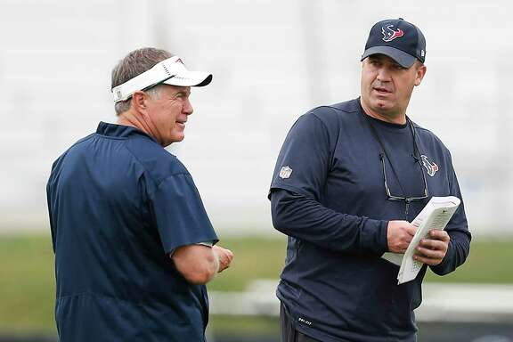 Patriots coach Bill Belichick and Texans coach Bill O'Brien, at a joint practice two years ago, could work out compensation for Nick Caserio to leave New England for Houston's GM job.