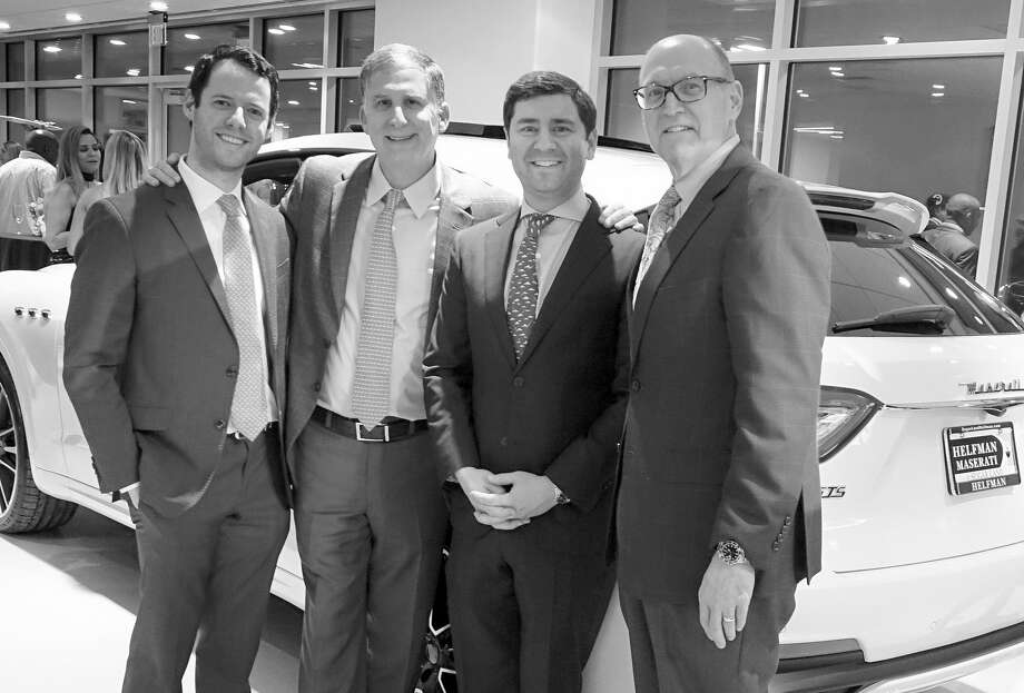 The Helfman dealerships represent three generations of close ties between the family and the communities they serve. At the recent grand opening of its second Maserati, Alfa Romeo and Fiat store were, left to right, Blake Helfman, manager, Steven Wolf, vice president, Jason Feldman, manager, and Jeff Smith, general manager Photo: Jeff Yip