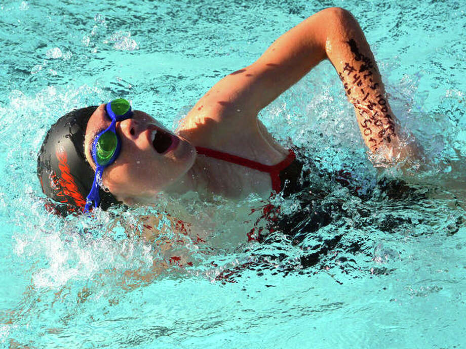 Kennedy Williams from Montclaire swims in the 9-10 girls 100-meter freestyle during Thursday's dual meet against Summers Port at Montclaire. Photo: Scott Marion/The Intelligencer