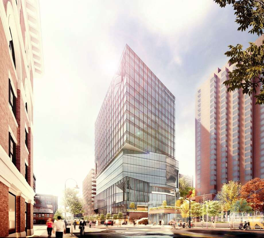 An artists rendering of a new.16-story office complex that the New Haven-based architectural firm Pickard Chilton has been hired to design. The new office building will be built in the Kendall Square neighborhood of Cambridge, Mass. and its primary tenant will be tech giant Google when construction is completed in 2022. Construction of the office tower will get underway later this year. Photo: Pickard Chilton /