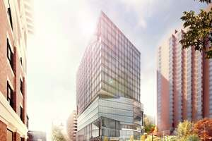 An artists rendering of a new.16-story office complex that the New Haven-based architectural firm Pickard Chilton has been hired to design. The new office building will be built in the Kendall Square neighborhood of Cambridge, Mass. and its primary tenant will be tech giant Google when construction is completed in 2022. Construction of the office tower will get underway later this year.