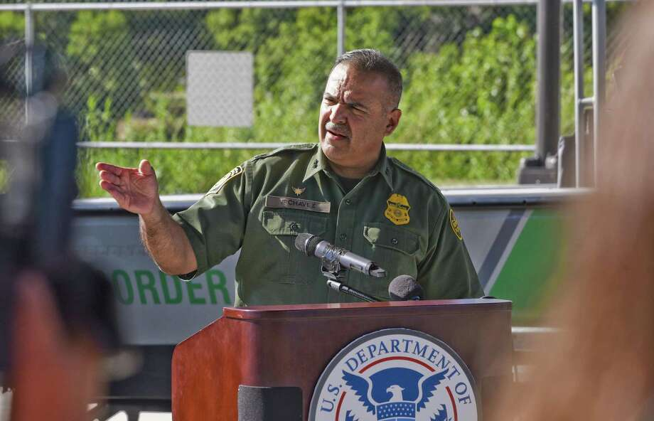 Laredo Sector Chief Patrol Agent Felix Chavez gives remarks on Thursday during the Laredo Sector Border Patrol Border Safety Initiative Press Conference held under Gateway to the Americas International Bridge. Photo: Danny Zaragoza /Laredo Morning Times / Laredo Morning Times