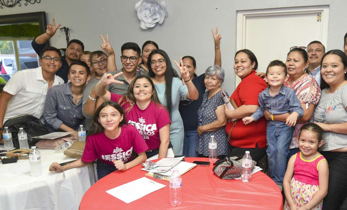Challenger for Texas' 28th District Jessica Cisneros meets with friends and family after an event to push her campaign forward, Thursday, Jun 13, 2019, at Dream Party Creations Party Place.