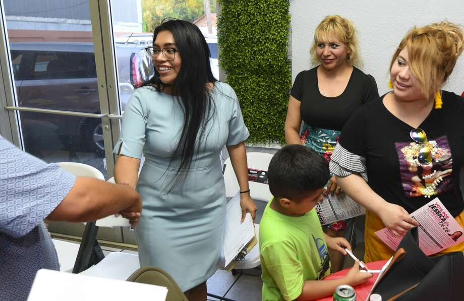 Challenger for Texas' 28th District Jessica Cisneros meets with friends and family after an event to push her campaign forward, Thursday, Jun 13, 2019, at Dream Party Creations Party Place. Photo: Danny Zaragoza/Laredo Morning Times