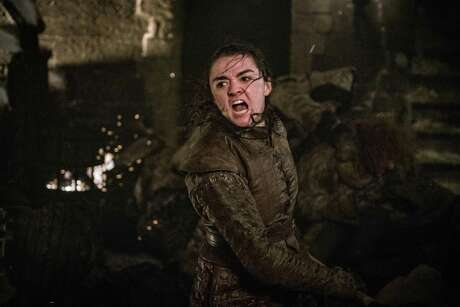 "This image released by HBO shows Maisie Williams in a scene from ""Game of Thrones,"" that aired Sunday, April 28, 2019. In the Associated Press' weekly ""Wealth of Westeros"" series, we're following the HBO fantasy show's latest plot twists and analyzing the economic and business forces driving the story. This week, Arya's triumphant assassination of the king ice zombie has prompted an appreciation among us for the role of skills, in economics as well as medieval Westeros. (Helen Sloan/HBO via AP)"