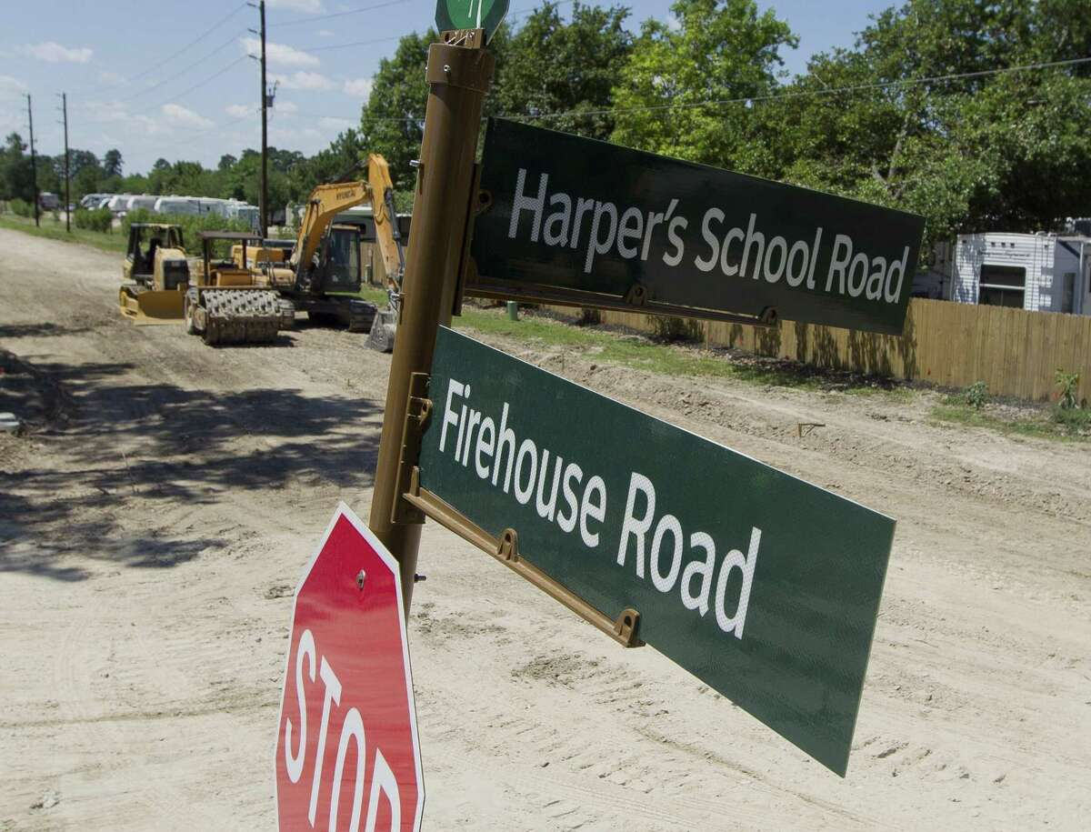 Firehouse Road near Harper School Road is seen under the construction, Thursday, June 13, 2019. Once completed, the road will extend to Texas 242 to service Conroe ISD's nearby Suchma Elementary as part of Precinct 4's 2015 road bond projects.