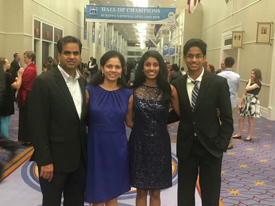 The Dasari family pose for a photo at a Scripps National Spelling Bee. Left to right: Ganesh Dasari, Usha Dasari, Shobha Dasari, Shourav Dasari. Photo: Courtesy Of SpellPundit