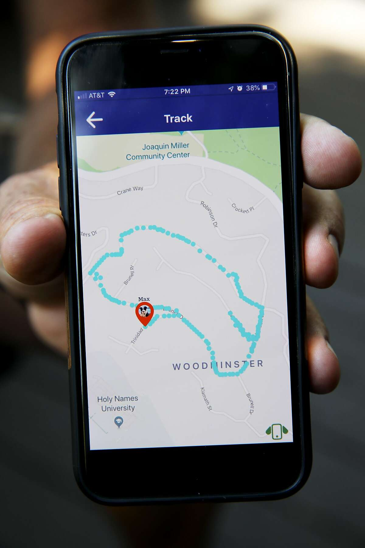 Gregory Gotts shows Max's, his border collie, route on the InvisiLeach app in Oakland, Calif., on Tuesday, June 11, 2019. Gotts has invented InvisiLeash, a small electronic device to attach to a dog or cat collar that allows the owner to track the animal's whereabouts.