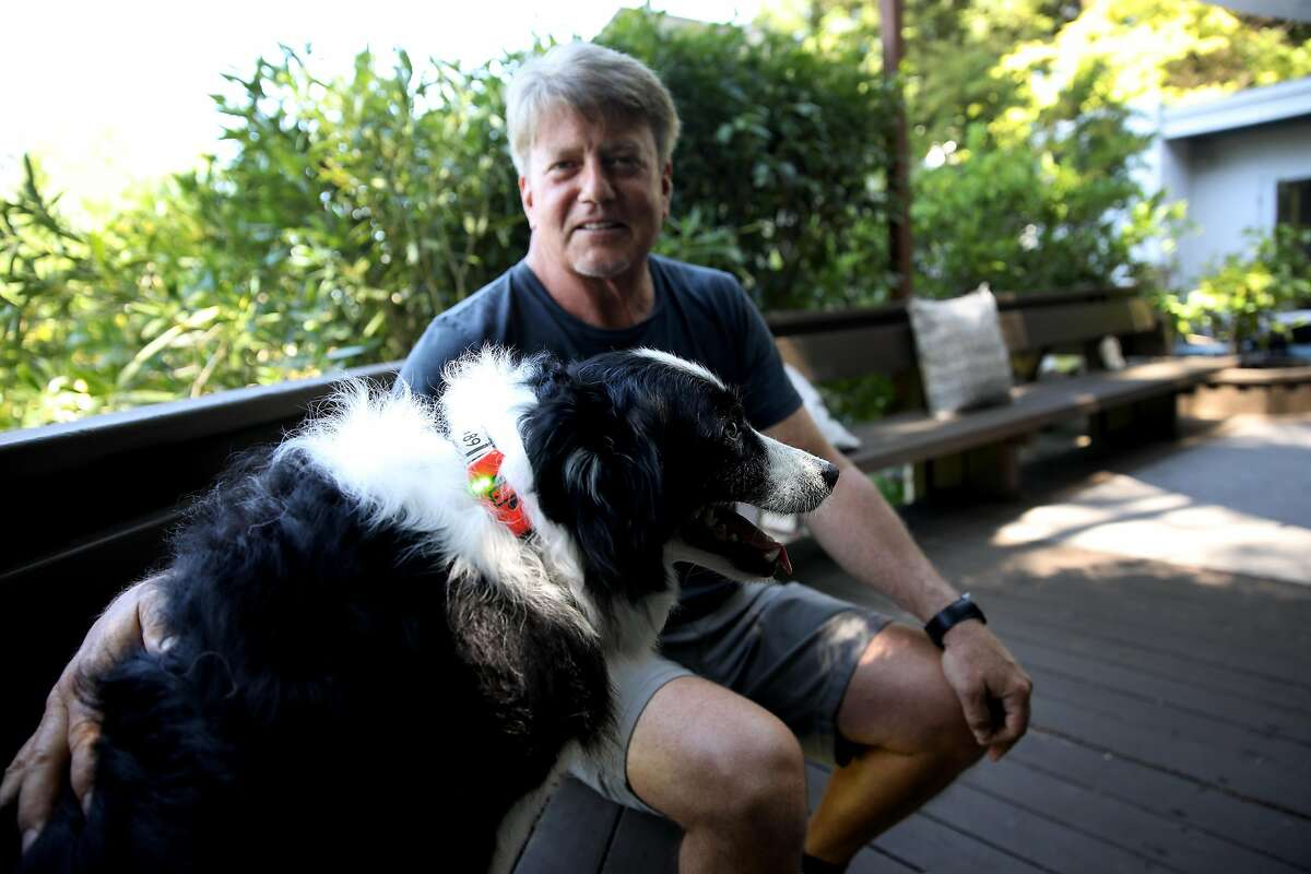 Gregory Gotts poses for portrait with his border collie Max in Oakland, Calif., on Tuesday, June 11, 2019. Gotts has invented InvisiLeash, a small electronic device to attach to a dog or cat collar that allows the owner to track the animal's whereabouts. Max is wearing an InvisiLeash prototype.
