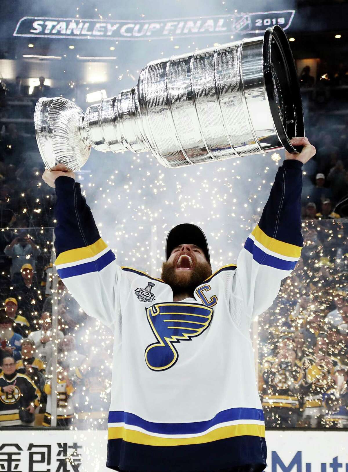 BOSTON, MASSACHUSETTS - JUNE 12: Alex Pietrangelo #27 of the St. Louis Blues celebrates with the Stanley Cup after defeating the Boston Bruins in Game Seven to win the 2019 NHL Stanley Cup Final at TD Garden on June 12, 2019 in Boston, Massachusetts. (Photo by Bruce Bennett/Getty Images) ***BESTPIX***