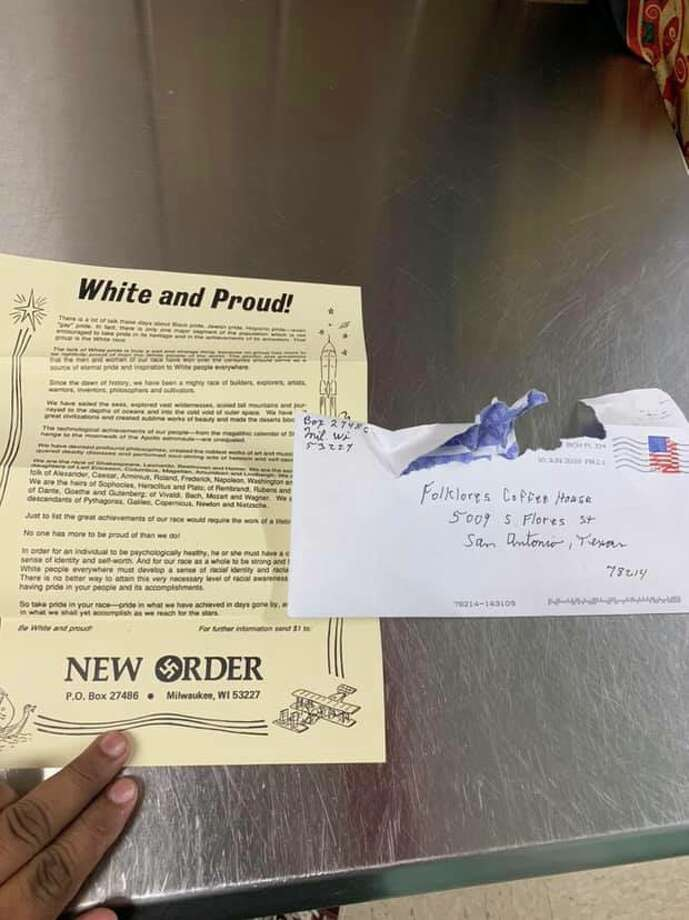 A letter from a Milwaukee-based neo-Nazi group landed in the mailbox of San Antonio's Folklores Coffee House, the South Side business owner says. Photo: Courtesy, Tatu Herrera
