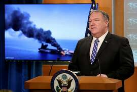 """WASHINGTON, DC - JUNE 13: U.S. Secretary of State Mike Pompeo speaks from the State Department briefing room on June 13, 2019 in Washington, DC. Pompeo said, """"It is the assessment of the U.S. government that Iran is responsible for today's attacks in the Gulf of Oman. These attacks are a threat to international peace and security, a blatant assault on the freedom of navigation, and an unacceptable escalation of tension by Iran."""" (Photo by Win McNamee/Getty Images)"""