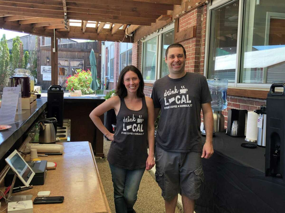 Dennis Bubbico and Jennie Sandusky, co-owners of Strigo Coffee, recently opened a tasting room on Wilson Avenue in June 2019.