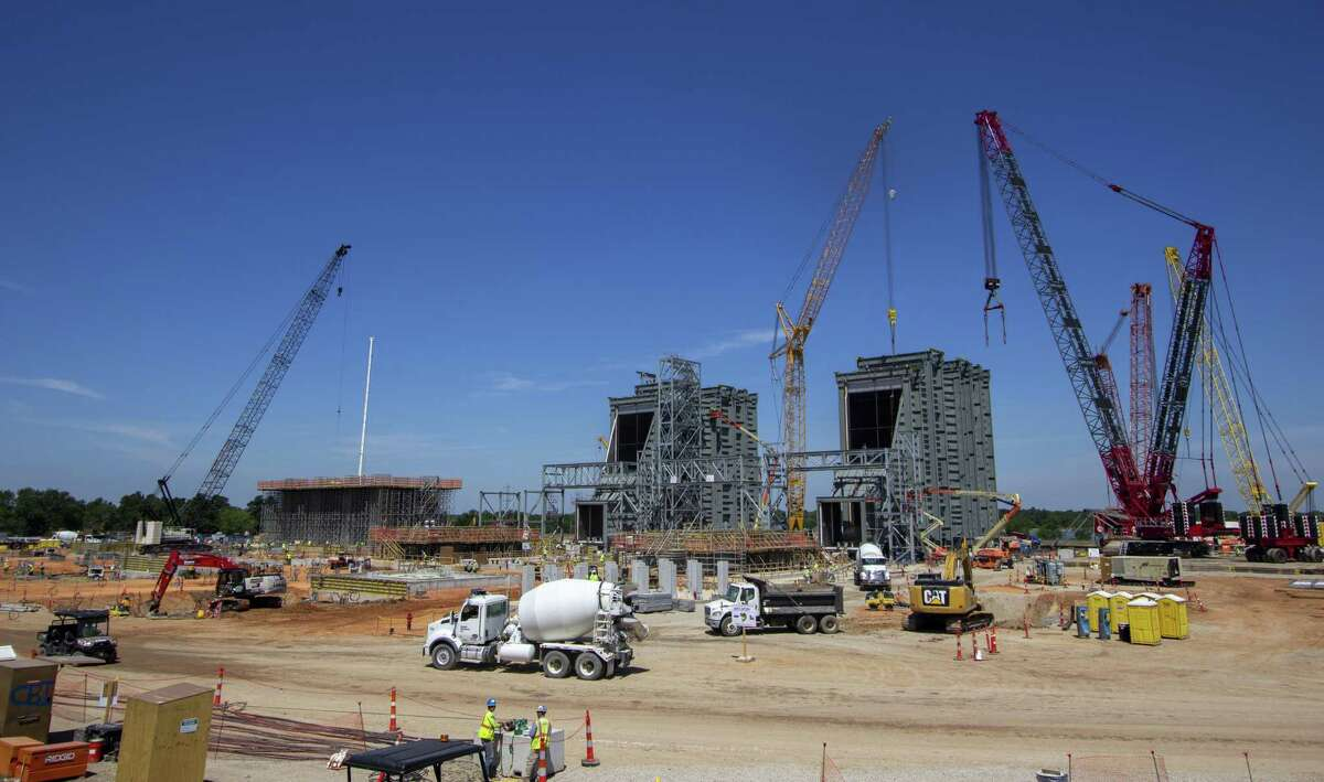 Crews continue construction on the Montgomery County Power Station on Wednesday, June 12, 2019 in Willis.