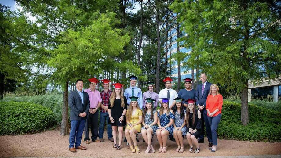 Earlier this month, 12 students who graduated from six area high schools and are attending college this fall received scholarships from the Howard Hughes Corp. Photo: Submitted Photo / Submitted Photo