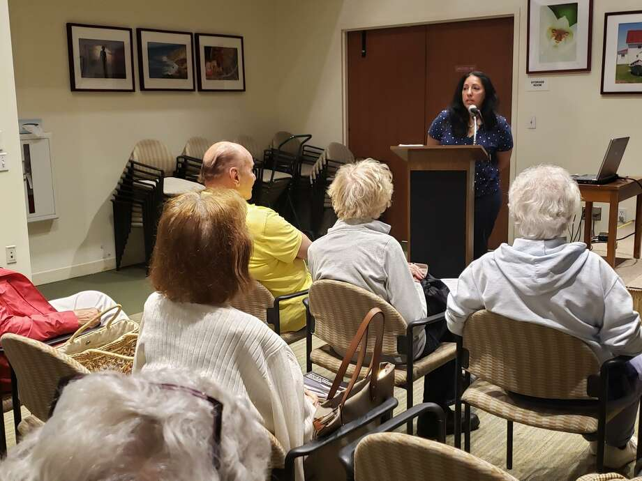 "Westport Historical Society Executive Director Ramin Ganeshram speaks at the Westport Center for Senior Activities on June 14, 2019, about her new book, ""The General's Cook,"" a story about Hercules, George Washington's chef. Ganeshram and genealogist Sara Krasne recently discovered the final resting place of Hercules, which will be included in an author's note in future prints. Photo: Liana Teixeira / Hearst Connecticut Media"