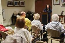 """Westport Historical Society Executive Director Ramin Ganeshram speaks at the Westport Center for Senior Activities on June 14, 2019, about her new book, """"The General's Cook,"""" a story about Hercules, George Washington's chef. Ganeshram and genealogist Sara Krasne recently discovered the final resting place of Hercules, which will be included in an author's note in future prints."""