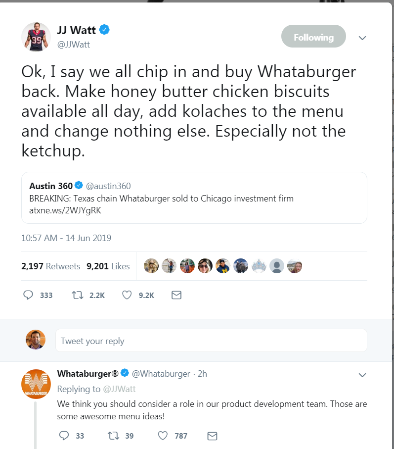 'Sell out!': As Houston and Texas rip Whataburger deal, J.J. Watt has a solution