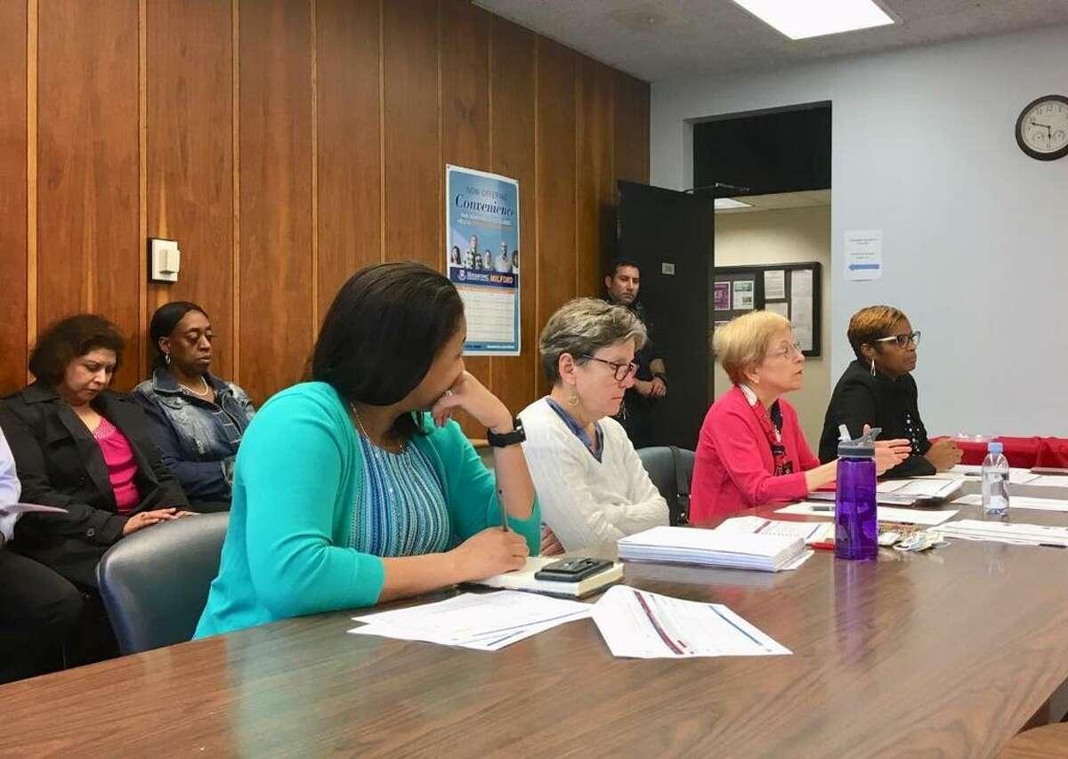 Bridgeport Public School staff at June 13, 2019 budget cutting session of the school board,