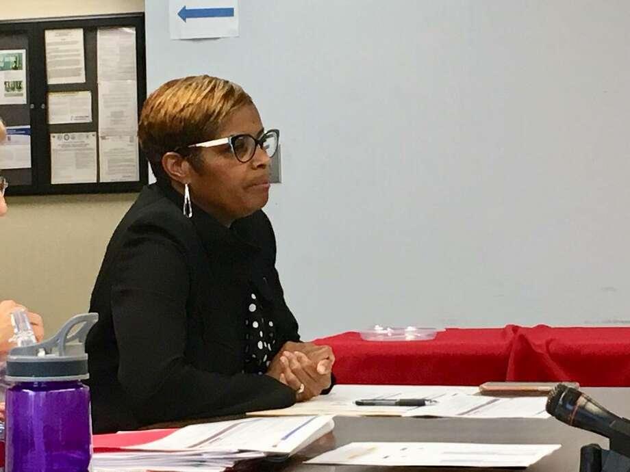 Schools Superintendent Aresta Johnson addresses school board on June 13, 2019 Photo: Linda Conner Lambeck