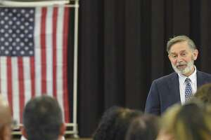 Interim Superintendent Ralph Mayo addresses guests as the students of Windrose, Greenwich High's alternative high school, are recognized and celebrated for their accomplishments in completing their graduation requirements. Thirteen students received certificates in a ceremony at St. Catherine Church on June 14, 2019 in Greenwich, Connecticut.