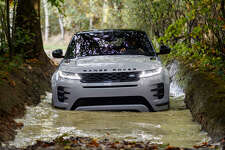 Land Rover says the 2020 Evoque can now soldier on through water up to 23.6 inches, which just might lift sales in flood-prone areas like Houston. Optional is a system that uses ultrasonic sensors in the exterior mirrors designed to measure the depth of the water and display that information on the central touchscreen.