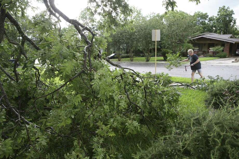 Wendy Elliott removes a fallen branch in her front yard on June 6. A reader thanks city workers for their prompt assistance after the intense storm. Photo: Tom Reel / Staff Photographer / 2019 SAN ANTONIO EXPRESS-NEWS