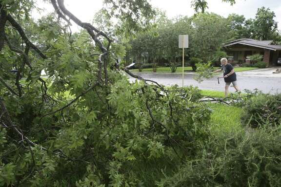 Wendy Elliott removes a fallen branch in her front yard   on June 6.   A reader thanks city workers for their prompt assistance after the intense storm.